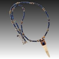 Deer Antler Tine Necklace With Copper Infused Lapis Beads And Cabochon