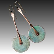 Long Enamel Disc Earrings