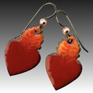 Sacred Heart Enamel Earrings