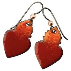 Sacred Heart Enamel Earrings