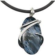Blue Pietersite Sterling Silver Wire Wrap Pendant Necklace