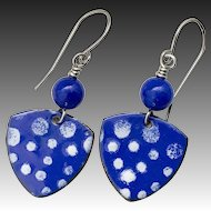 Blue Polka Dot Enamel Earrings