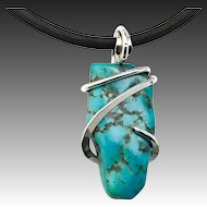 Sleeping Beauty Turquoise Nugget Sterling Silver Wrap Pendant Necklace