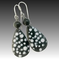 Black Polka Dot Enamel Earrings