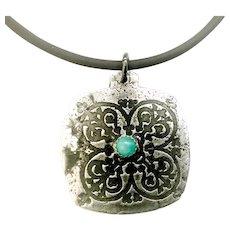 Rustic Silver Amazonite Relic Pendant Necklace