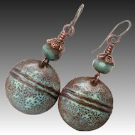 Rustic Brown And Green Enamel Earrings