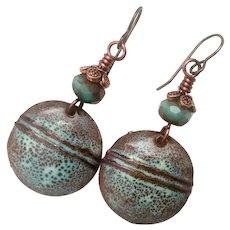Rustic Brown And Green Enamel Earrings