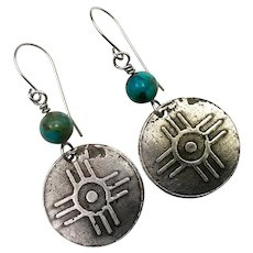 Rustic Silver And Copper Turquoise Relic Earrings
