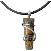 Leopard Skin Jasper Sterling Silver Wrapped Pendant Necklace