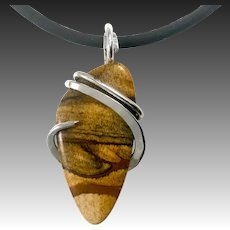 Picture Jasper Sterling Silver Wrapped Pendant Necklace