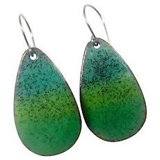 Green Ombré Enamel Earrings