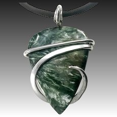 Seraphinite Sterling Silver Wrapped Pendant