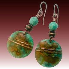 Rustic Copper Patina Chrysoprase Earrings