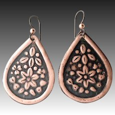 Rustic Copper Floral Textured Earrings