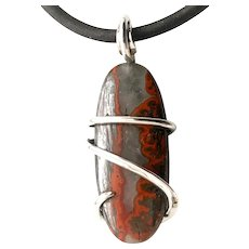 Moroccan Seamed Agate Sterling Silver Wire Wrap Pendant Necklace