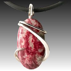 Thulite Sterling Silver Wrapped Pendant Necklace