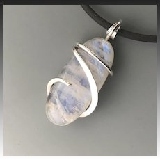 Moonstone Sterling Silver Wrapped Pendant Necklace