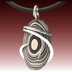 Fordite Detroit Agate Sterling Silver Wrap Pendant Necklace