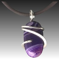 Purple Onyx Sterling Silver Wrapped Pendant Necklace