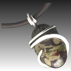 Peridot In Basalt Sterling Silver Pendant Necklace
