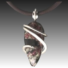 Eudialyte Sterling Silver Wrapped Pendant Necklace