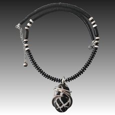 Septarian Sterling Silver Wire Wrap Pendant Necklace