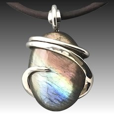 Labradorite Sterling Silver Pendant Necklace