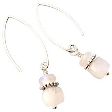 Rainbow Moonstone Sterling Silver Earrings