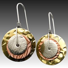 Mixed Metal Copper Brass And Sterling Silver Textured Earrings