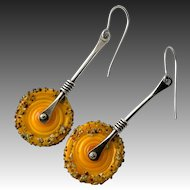 Yellow Lampwork Glass Sterling Silver Earrings