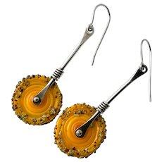 Yellow Lampwork Glass Sterling Silver Earrings