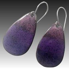Purple Ombré Enamel Earrings