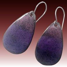 Purple Ombré Enamel Earrings