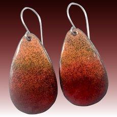 Red Enamel Ombré Earrings