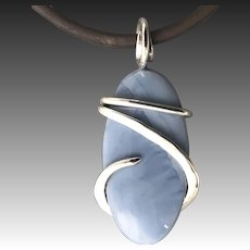 Owyhee Blue Opal Sterling Silver Wire Wrap Pendant Necklace