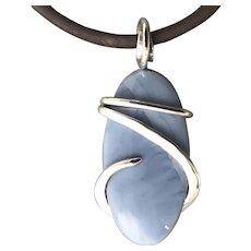 Owyhee Blue Opal Sterling Silver Wire Wrap Pendant Necklace