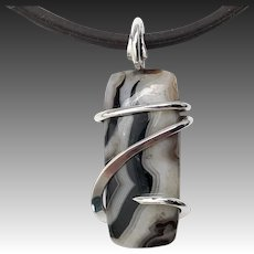 Banded Agate Sterling Silver Wire Wrap Pendant Necklace