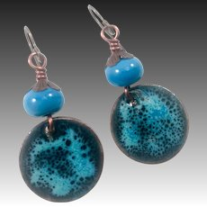 Blue Enamel And Lampwork Glass Earrings