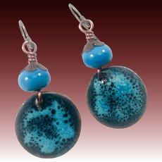Blue Enamel And Lampwork Glass Earrings
