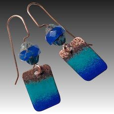 Blue Ombré Enamel Earrings