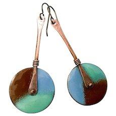 Blue Green And Brown Long Enamel Earrings