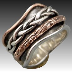 Sterling Silver And Copper Spinner Ring