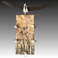 German Dendrite Sterling Silver Pendant Necklace
