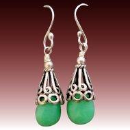 Green Chrysoprase Sterling Silver Earrings