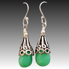 Green Chrysoprase Sterling Silver Earrings