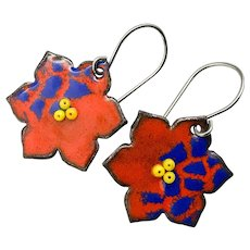 Red Enamel Flower Earrings