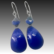 Blue Enamel And Czech Glass Earrings