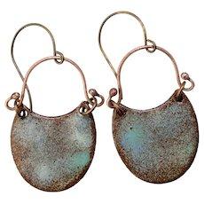 Blue And Brown Textured Enamel Earrings