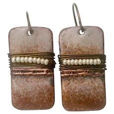 Rustic Brown Enamel Earrings