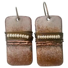 Rustic Brown Enamel Earrings